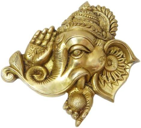 刻印の彫刻ガネーシャ神壁装飾真鍮メタルFigurineホームD ?Cor