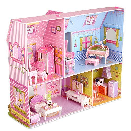 (ZValueDesign DIY 3D Puzzle,Dollhouse Kits with Furniture, Kids House 3D Jigsaw Puzzle Toys, Princess Castle Building DIY Game (92)