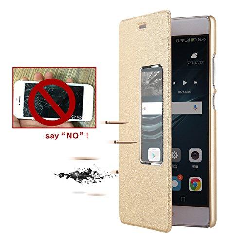 JEPER Magnetica per Huawei Brown Chiusa con Huawei Bookstyle P9 P9 Portafoglio Cover Case Protettiva in Pelle Pelle Custodia Pu Stand Flip rr1TOq
