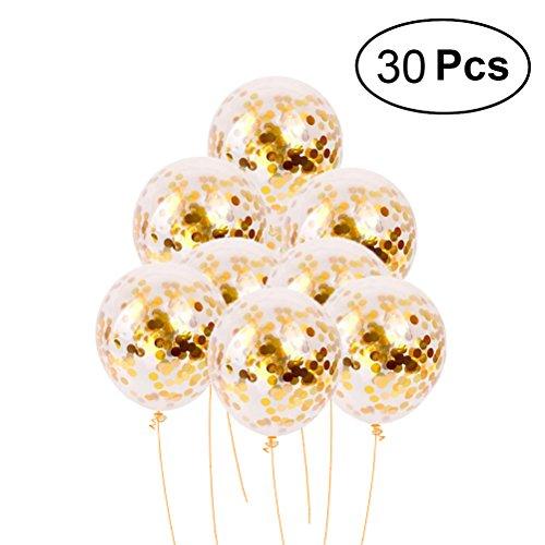 toymytoy dorado Lentejuelas Confeti globos de látex globos de fiesta confeti con relleno de oro multicolor para decoraciones de boda propuesta fiesta de graduación de cumpleaños, Gold 12inch 30 Pcs, 8