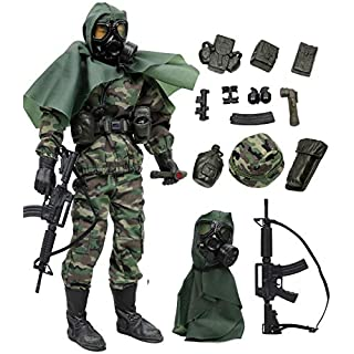 """Click N' Play Military Marine Nuclear Biological Chemical (NBC) Specialist 12"""" Action Figure Play Set with Accessories, Brown CNP30466"""