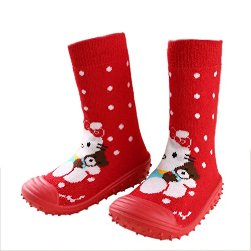 leap frogFloor Sock Slipper - Zapatillas altas niña Red Cat