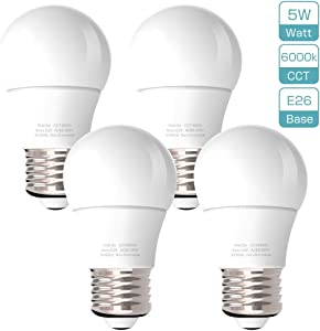 LED Refrigerator Light Bulb 45W Equivalent 120V A15 Fridge Waterproof Bulbs 5W Daylight White 6000K E26 Base Freezer Ceiling Home Lighting Lamp Non-dimmable(4 Pack)