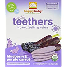 Happy Baby Organic Blueberry and Carrot Teethers Baby Food, 24 Wafers (Pack of 6)