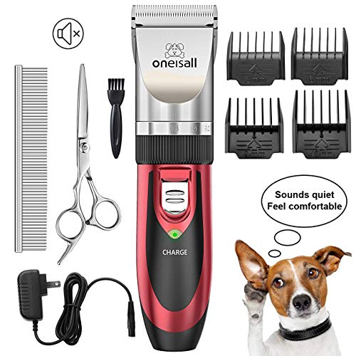 oneisall Pet Grooming Clipper Kits Low Noise Dog and Cat Rechargeable Cordless Electric Queit Clippers Set (Red)