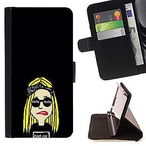 King Case - FOR Samsung Galaxy S6 EDGE - I do feel lonely - Prima caja de la PU billetera de cuero con ranuras para tarjetas, efectivo Compartimiento desmontable y correa para la mu?eca