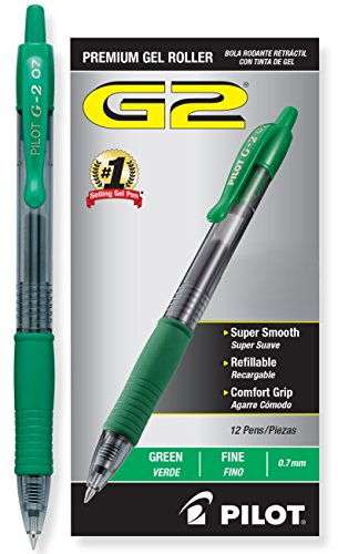 Pilot G2 Retractable Premium Gel Ink Roller Ball Pens, Fine Pt, Dozen Box, Green (Cart Rolling Go We)