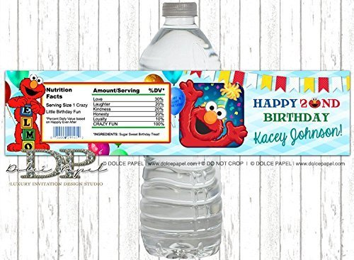 Amazon 10 ELMO 2nd Birthday Water Bottle Labels ANY AGE Elmo