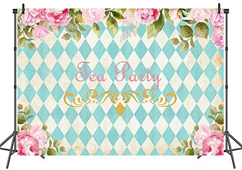 Tea Party 6x8 FT Photo Backdrops,Tea Time Theme with Teapots and Cups Blooming Daisy Chamomiles Background for Photography Kids Adult Photo Booth Video Shoot Vinyl Studio Props