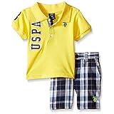 U.S. Polo Assn. Baby Boys' 2 Piece Solid Pique Shirt Short, Multi Plaid, 3/6 Months