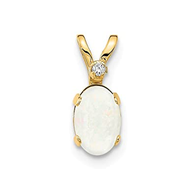 f4c070c71 Image Unavailable. Image not available for. Color: 14k Yellow Gold Diamond Opal  Birthstone Pendant Charm Necklace October ...