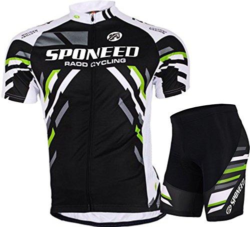 sponeed Men's Bicycle Jersey Sets Short Sleeve Bike Shorts Padded Road Racing Cycle Wear US XX-Large Bike Shorts Kit
