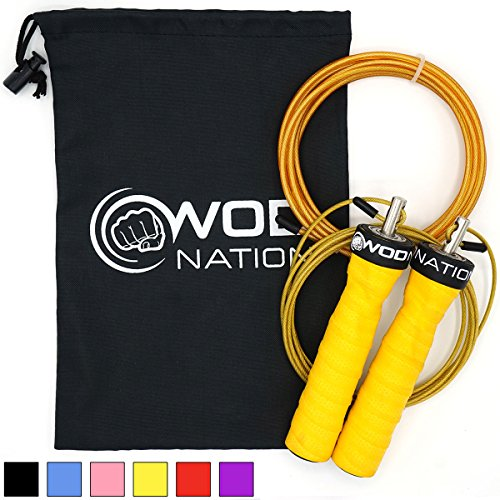 WOD Nation Attack Speed Jump Rope by - Adjustable Jumping Ropes - Unique 2 Cable Skipping Workout System - 1 Heavy and 1 Light 11 Cable - Perfect for Double Unders - Fits Men and Women