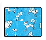 Cats and Florals Extra Large Gaming Mouse Mat Non-Slip Rubber Base Sticthed Edge Mousepad for Computer Desk Stationery Accessories