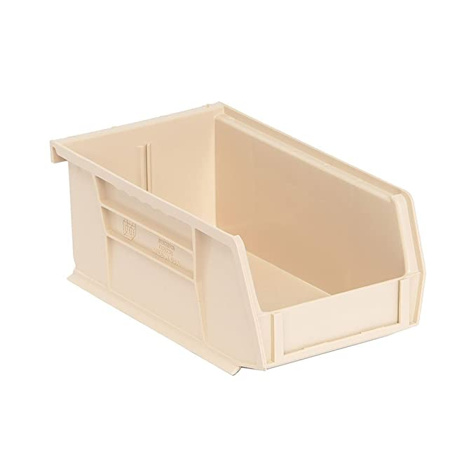 "QUS220 Quantum Plastic Storage Stacking Bin 7/"" x 4/"" x 3/"" Ivory Carton of 24"