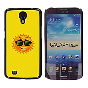 Be Good Phone Accessory // Dura Cáscara cubierta Protectora Caso Carcasa Funda de Protección para Samsung Galaxy Mega 6.3 I9200 SGH-i527 // Happy Summer Sun Cartoon Sunglasses