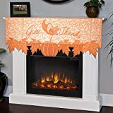 decorating fireplace mantels Thanksgiving Decor 20 x 60 Inch Fireplace Scarf Maple Leaves Brown Mantle Scarves Cover Lace Runner for Festive Party Supplies Wedding Holiday Christmas Parties Door (Orange Brown)