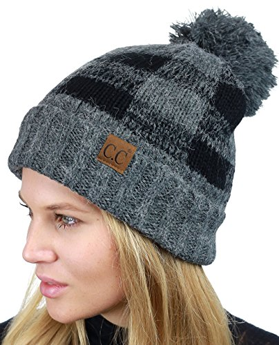 (C.C Soft Stretch Pom Pom Fuzzy Lined Buffalo Plaid Cuff Beanie Hat, Dark Melange Gray/Black)