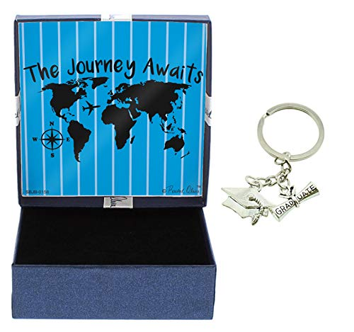 Grad Gifts Journey Awaits Jewelry Box and Grad Keychain Graduation Keychain Graduate Key Ring Grad
