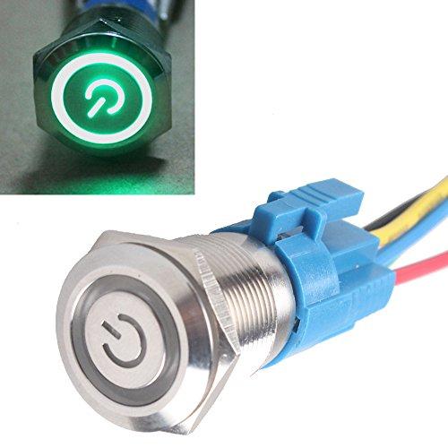 Socket 16mm 12V Car Green LED Light Angel Eye Metal Push Button Switch