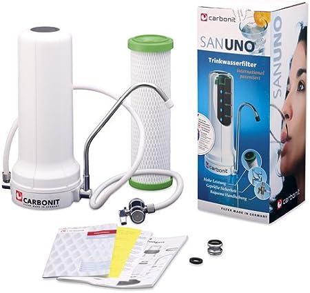 Carbonit Filtro de agua SanUno Classic - Aparato para colocar sobre la mesa, con filtro de carbón