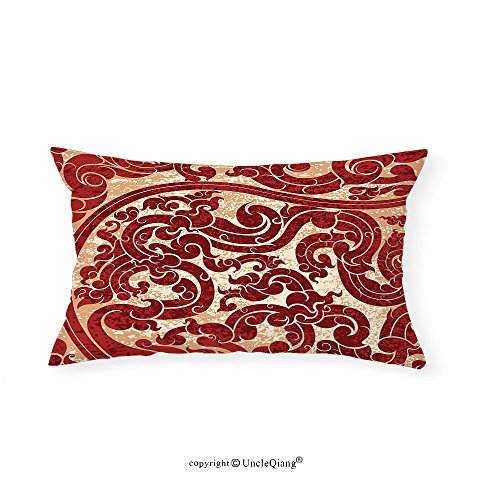 VROSELV Custom pillowcasesAntique Decor Thai Culture Vector Abstract Background Flower Pattern Design Print for Bedroom Living Room Dorm Burgundy(12''x24'') by VROSELV