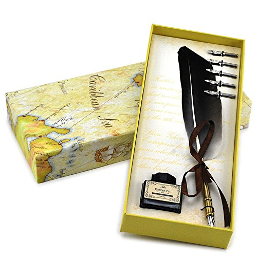 - Quill Pen,Luxury Quill Pen and Ink Set (Copper)