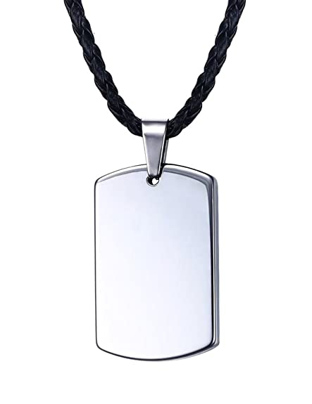 Edelstahl Dog Tag Anhänger Gravurplatte Kette Plakette Damen Halskette silber