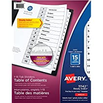 Avery Ready Index Table of Content Dividers for Laser and Inkjet