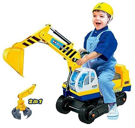 Sitzbagger mit zwei Schaufeln in gelb + Helm