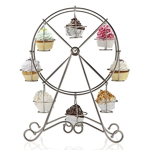 Home-X Rotating Ferris Wheel Cupcake and Dessert Server, for 8 -