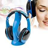 Ckeyin ® Wireless Stereo Headphone Headset Microphone FM For PC / Laptop / Smart TV / iPhone / iPad / MP3 / MP4 / Cell phone / etc - Blue