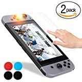 Nintendo Switch Screen Protector , Vorida Tempered Glass Screen Protector 2.5D/ Full Coverage/ 9H Hardness /Anti-Bubble & Anti-Fingerprint Film /With Thumb Stick Caps 2 Packs For Sale