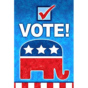 Toland Home Garden Vote Republican 28 x 40 Inch Decorative Colorful Political Elephant Party Voting House Flag