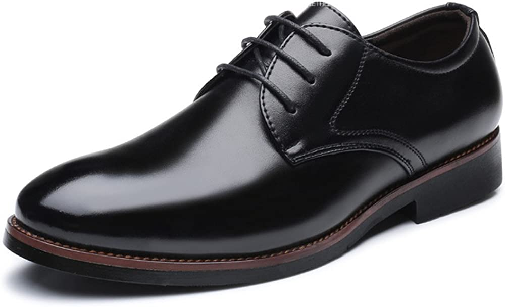 MUMUWU Mens Formal Business Shoes Classic Matte PU Leather Lace Up Breathable Lined Oxfords Dress Shoes