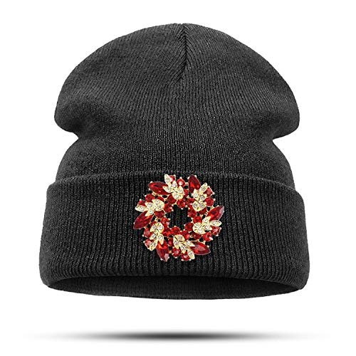 Winter Knitted Hat for Women Bling Crystal Rhinestone Golden Redbud Flower Brooch Pins Jewelry Brooches