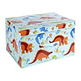 Dinosaur Foldable Pop up Room Tidy Storage Chest Toy Box for Girls and Boys, Fabric, Multi-Colour, 50 x 30 x 40 cm