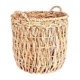 Tan Wicker Tall Round Floor Basket with Handles