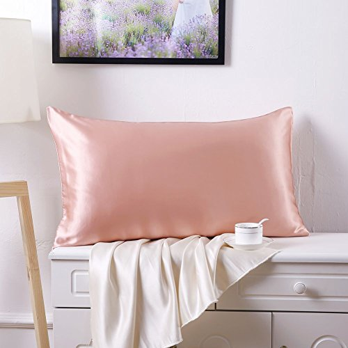 SLPBABY 100% Natural Pure Silk Pillowcase for Hair and Skin, Both Side 19 Momme Silk, Luxury Smooth Satin Pillowcase Cover with Hidden Zipper (Standard(20''x26''), - Hair Satin Pillowcase
