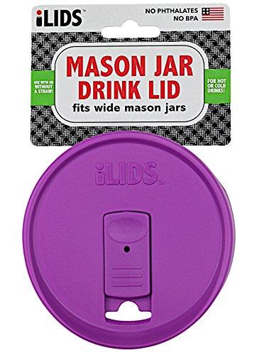 ILIDS Mason Regular Mouth Jar Drink Lid (2 Pack), Mulberry