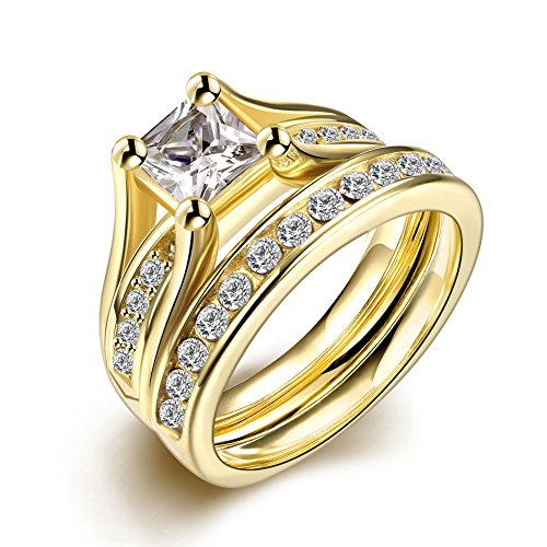 (JAJAFOOK 18K Yellow Gold Plated Princess Cut White Cubic Zirconia Promise Wedding Rings Set for Women)