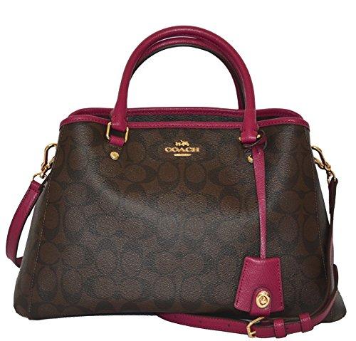 Coach Signature SM Margo Carryall Tote Purse Handbag Bag Brown Fuchsia by Coach