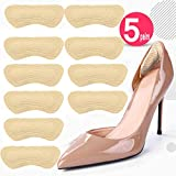 Heel Grips Pads Leather Liner Cushions Inserts for Loose Shoes,Shoe Pads for Shoes Too Big 5pairs (Beige)
