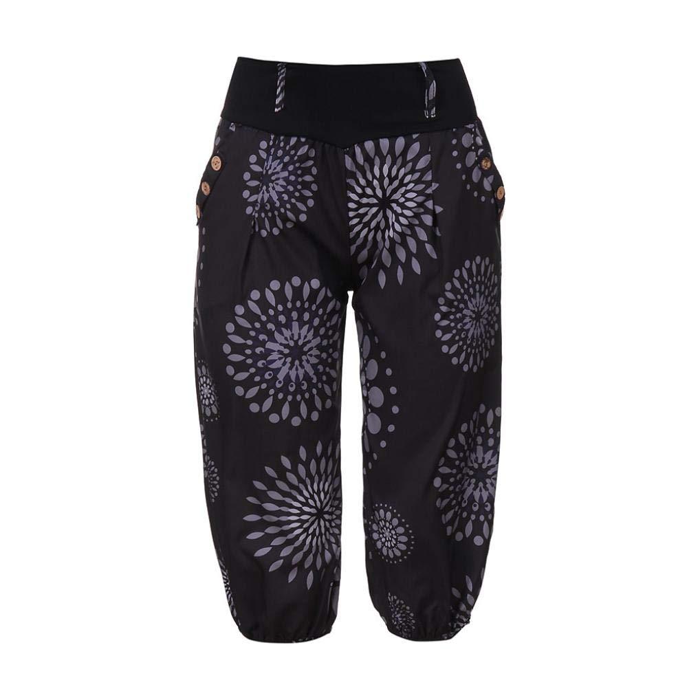 Autumn Womens Ladies Printing Dot Flower Trousers Bloom Pants Sport Button Harem Pants (Black, 3XL)