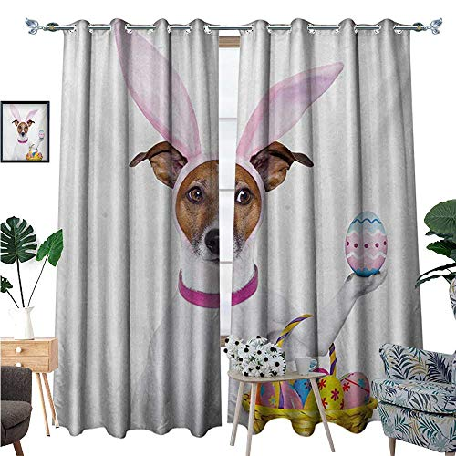 Easter Window Curtain Drape Dog Dressed up as Easter Bunny Holding a Basket of Eggs Funny Animal Illustration Decorative Curtains for Living Room W84 x L96 Multicolor -
