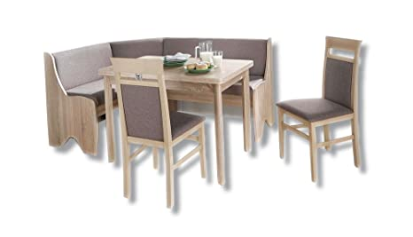 AVANTI TRENDSTORE - Panca angolare con tavolo in quecia e due sedie ...