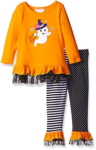 Bonnie Jean Little Girls' Toddler Ghost Appliqued Knit Halloween Legging Set, Orange, 4T