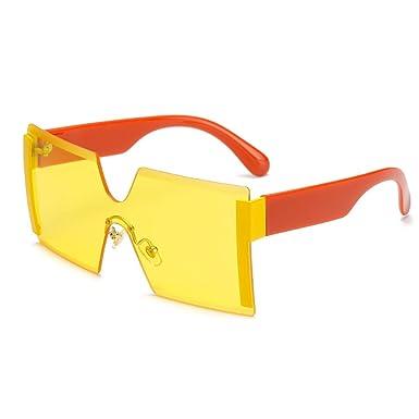 Wang-RX Gafas de sol sin montura cuadradas de gran tamaño ...
