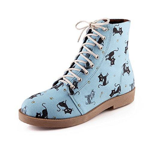 AllhqFashion Damen Gewebe Niedrig-Spitze Schnüren Niedriger Absatz Stiefel Blau