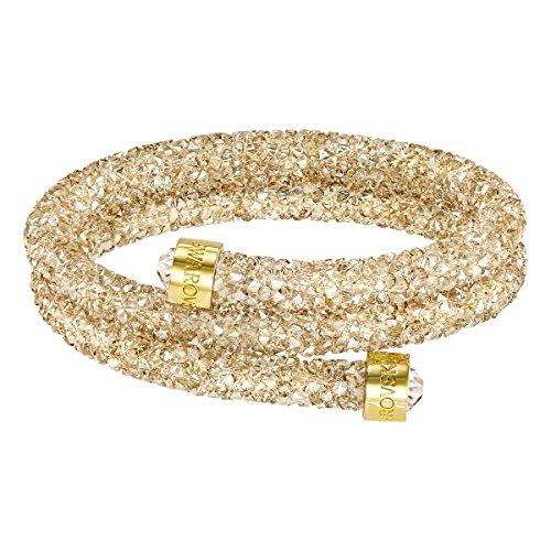(Swarovski Crystaldust Double Bangle Bracelet, Golden Crystal - Small)